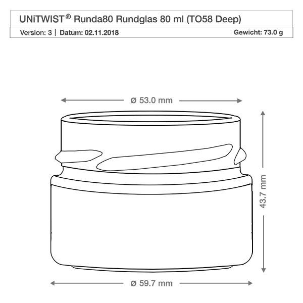 6x unitwist runda 80ml mit silbernem deckel to58d. Black Bedroom Furniture Sets. Home Design Ideas