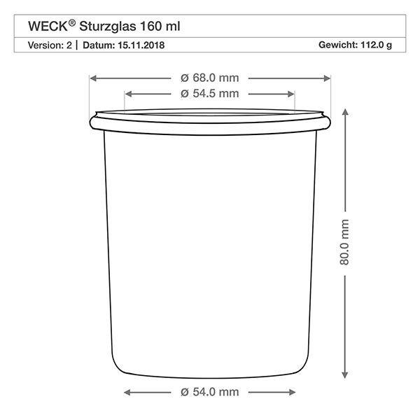6x weck 160ml sturzglas rr60 mit glasdeckel. Black Bedroom Furniture Sets. Home Design Ideas